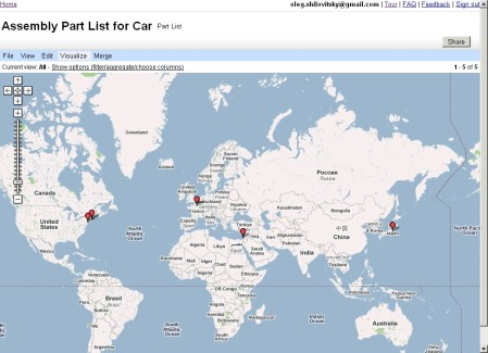 Visualize table data on map