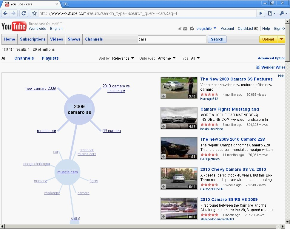 Google Wonder Wheel - Video Search